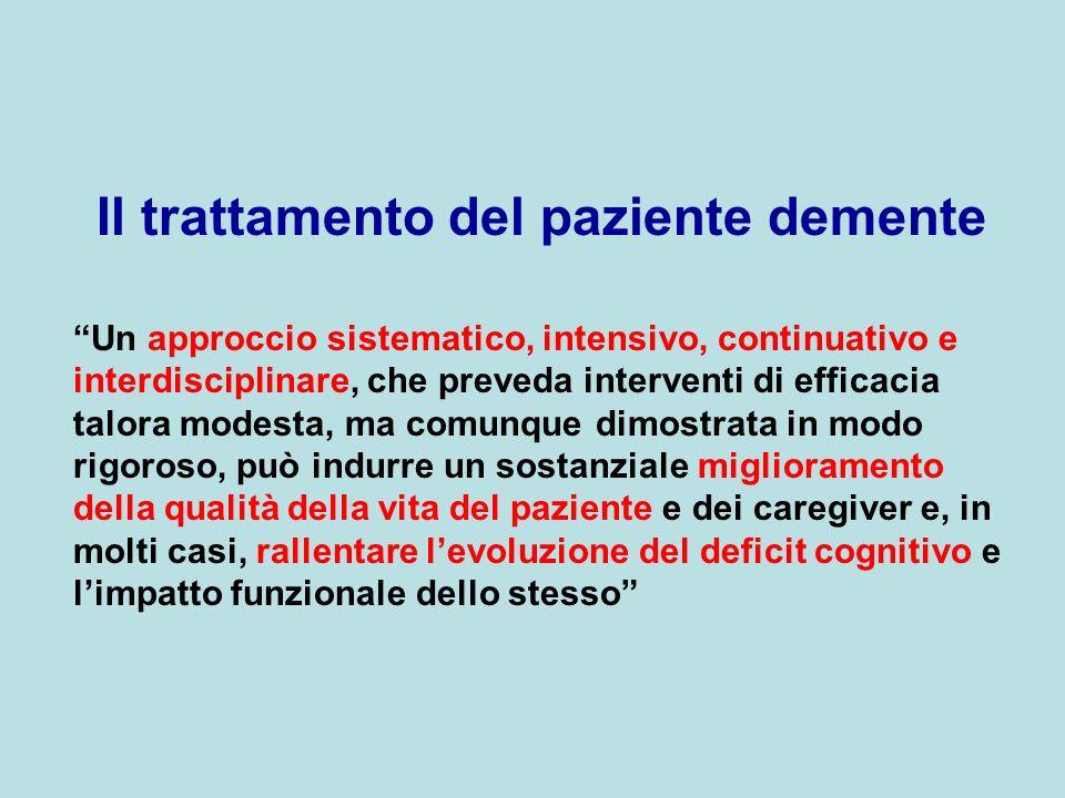 Il trattamento del paziente demente Un approccio sistematico, intensivo, continuativo e interdisciplinare, che preveda interventi di efficacia talora