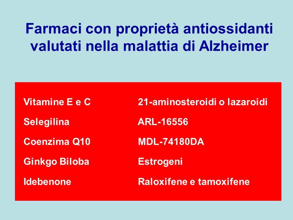 Farmaci con proprietà antiossidanti valutati nella malattia di Alzheimer Vitamine E e C 21-aminosteroidi o lazaroidi Selegilina ARL-16556 Coenzima Q10