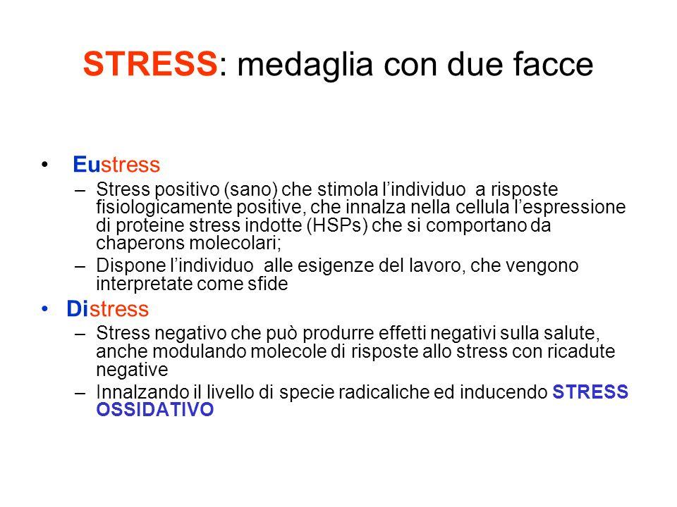 STRESS: medaglia con due facce Eustress –Stress positivo (sano) che stimola lindividuo a risposte fisiologicamente positive, che innalza nella cellula