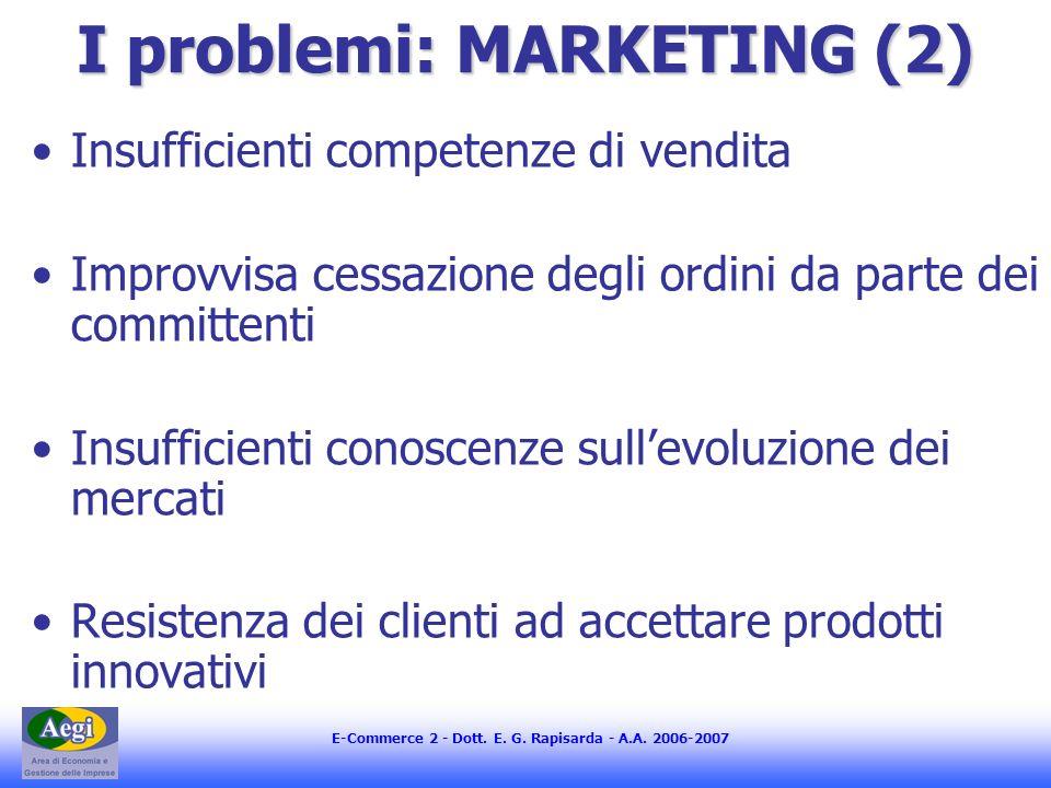 E-Commerce 2 - Dott. E. G. Rapisarda - A.A. 2006-2007 I problemi: MARKETING (2) Insufficienti competenze di vendita Improvvisa cessazione degli ordini