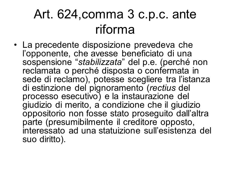 Art. 624,comma 3 c.p.c. ante riforma La precedente disposizione prevedeva che lopponente, che avesse beneficiato di una sospensione stabilizzata del p