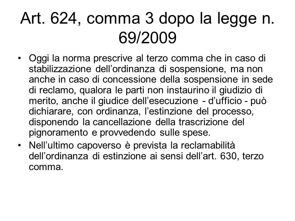 Art. 624, comma 3 dopo la legge n. 69/2009 Oggi la norma prescrive al terzo comma che in caso di stabilizzazione dellordinanza di sospensione, ma non