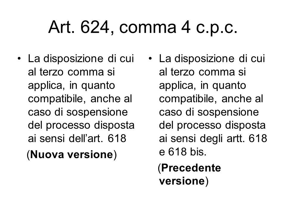 Art. 624, comma 4 c.p.c. La disposizione di cui al terzo comma si applica, in quanto compatibile, anche al caso di sospensione del processo disposta a