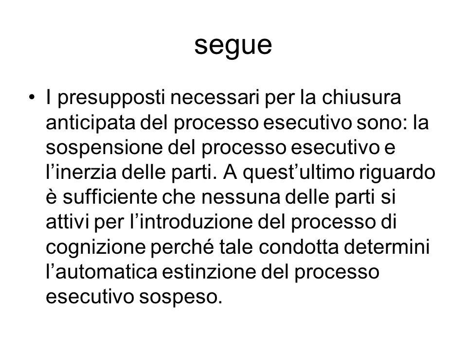 segue I presupposti necessari per la chiusura anticipata del processo esecutivo sono: la sospensione del processo esecutivo e linerzia delle parti. A