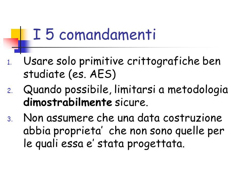 I 5 comandamenti 1. Usare solo primitive crittografiche ben studiate (es.