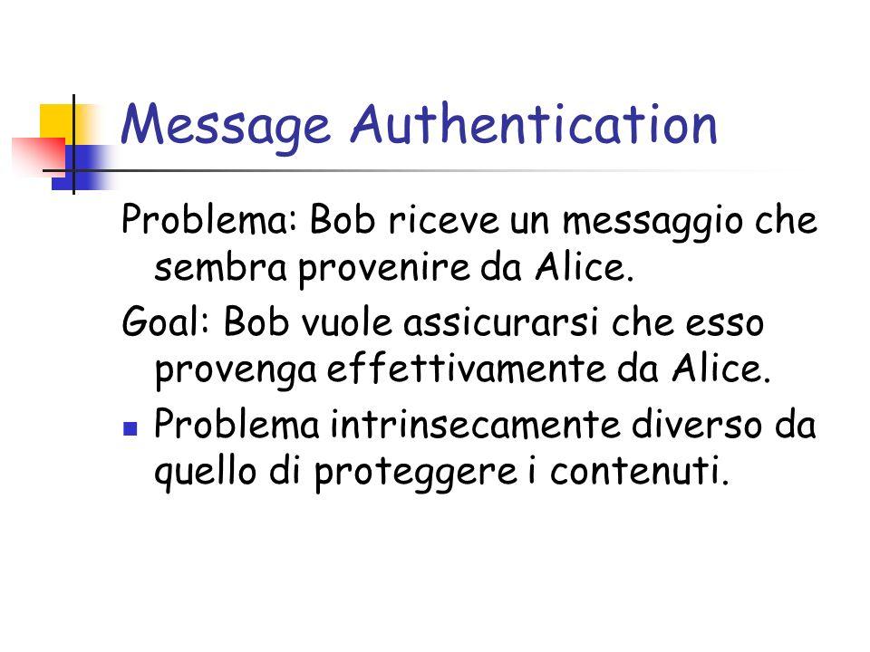 Message Authentication Problema: Bob riceve un messaggio che sembra provenire da Alice. Goal: Bob vuole assicurarsi che esso provenga effettivamente d