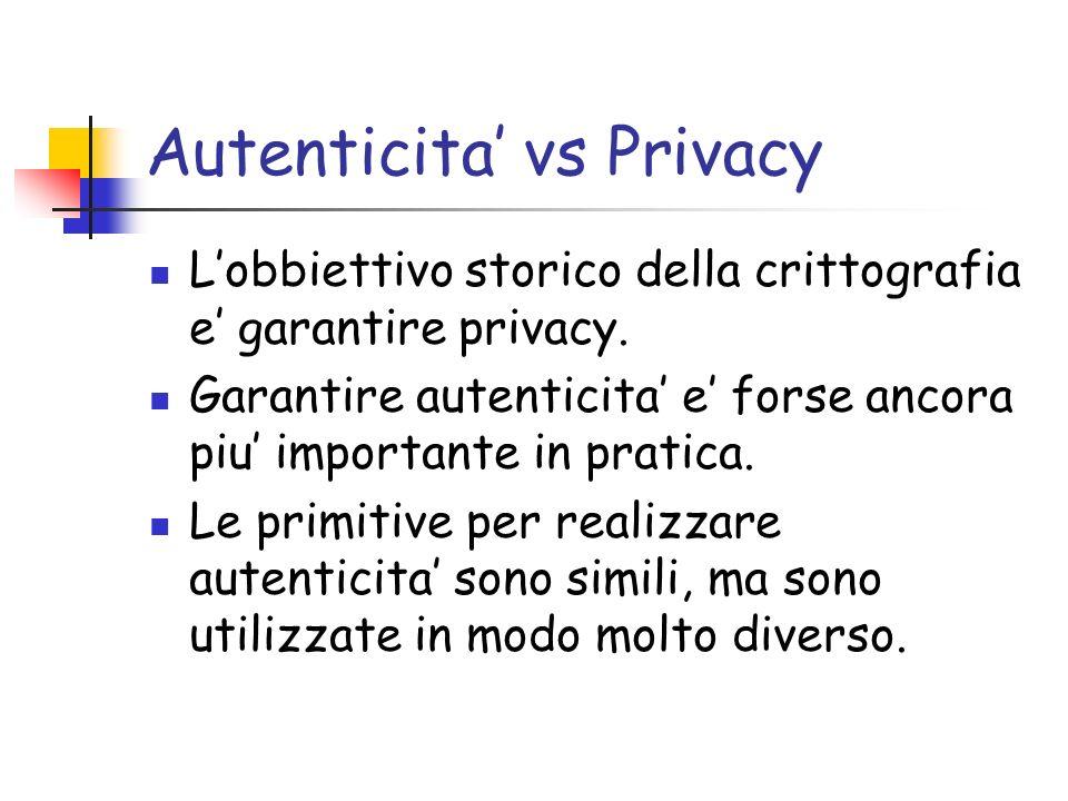 Autenticita vs Privacy Lobbiettivo storico della crittografia e garantire privacy. Garantire autenticita e forse ancora piu importante in pratica. Le