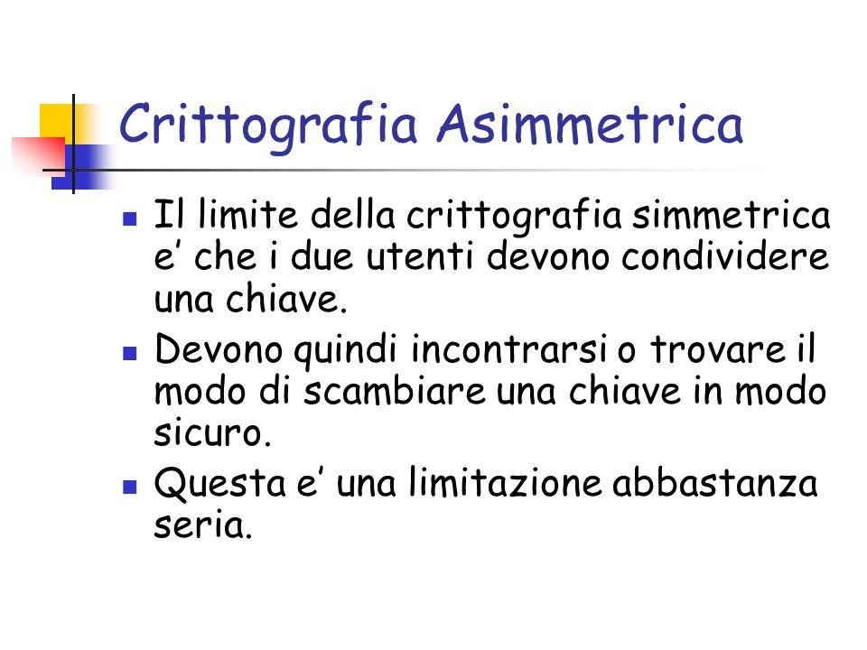 Crittografia Asimmetrica Il limite della crittografia simmetrica e che i due utenti devono condividere una chiave. Devono quindi incontrarsi o trovare