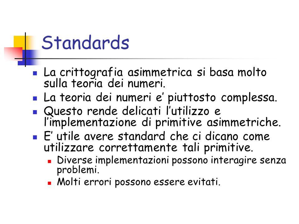 Standards La crittografia asimmetrica si basa molto sulla teoria dei numeri. La teoria dei numeri e piuttosto complessa. Questo rende delicati lutiliz