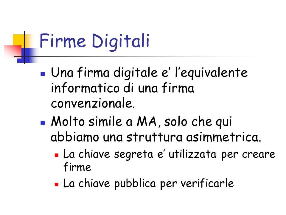 Firme Digitali Una firma digitale e lequivalente informatico di una firma convenzionale. Molto simile a MA, solo che qui abbiamo una struttura asimmet