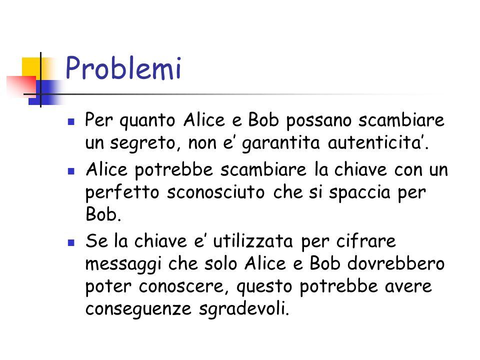 Problemi Per quanto Alice e Bob possano scambiare un segreto, non e garantita autenticita. Alice potrebbe scambiare la chiave con un perfetto sconosci