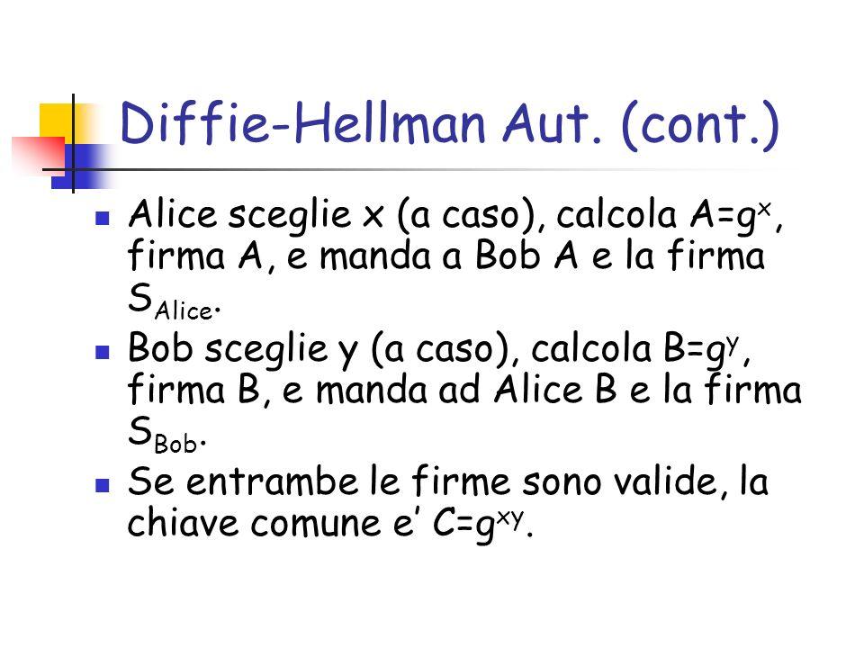 Diffie-Hellman Aut. (cont.) Alice sceglie x (a caso), calcola A=g x, firma A, e manda a Bob A e la firma S Alice. Bob sceglie y (a caso), calcola B=g