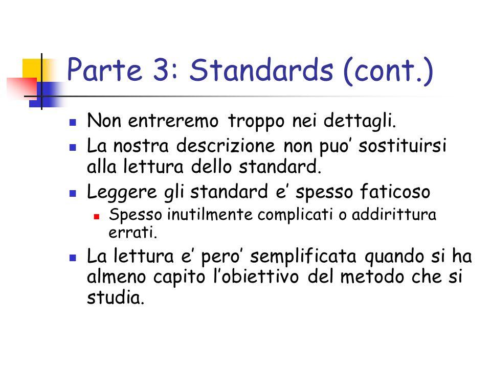 Parte 3: Standards (cont.) Non entreremo troppo nei dettagli. La nostra descrizione non puo sostituirsi alla lettura dello standard. Leggere gli stand
