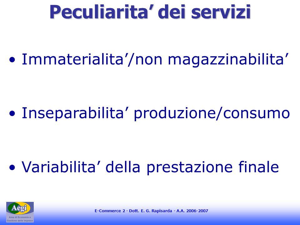 E-Commerce 2 - Dott. E. G. Rapisarda - A.A. 2006-2007 Peculiarita dei servizi Immaterialita/non magazzinabilita Inseparabilita produzione/consumo Vari