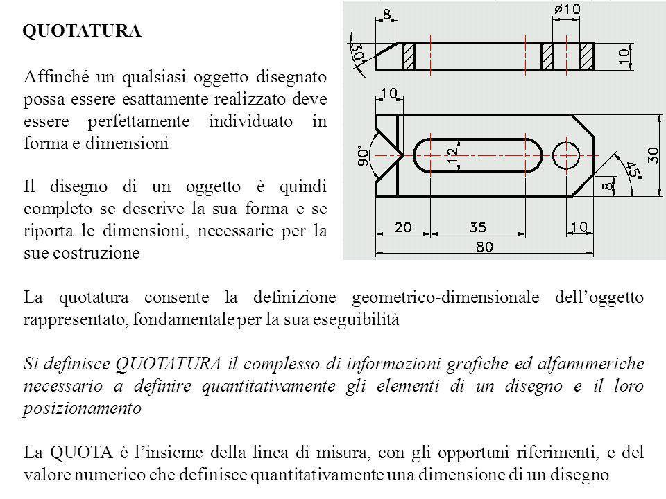 QUOTATURA La quotatura consente la definizione geometrico-dimensionale delloggetto rappresentato, fondamentale per la sua eseguibilità Si definisce QU