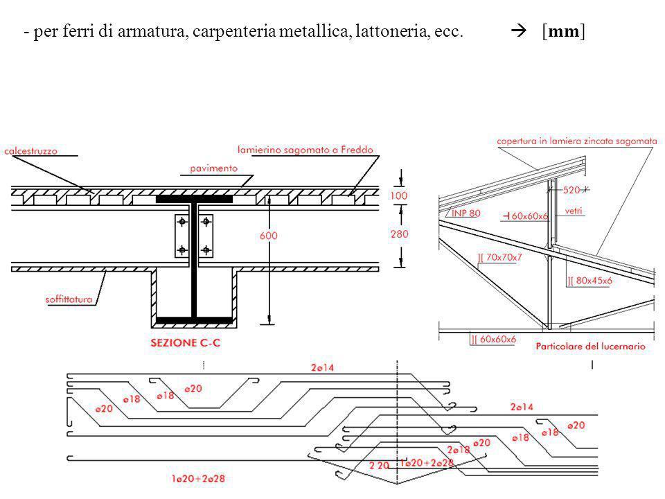 - per ferri di armatura, carpenteria metallica, lattoneria, ecc. [mm]
