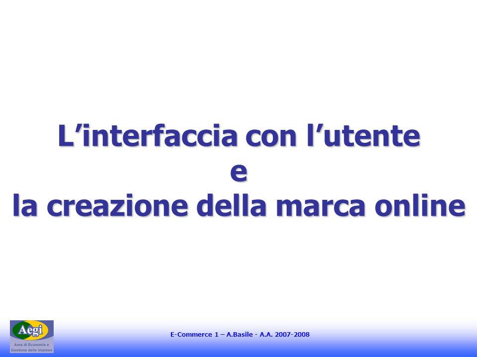 E-Commerce 1 – A.Basile - A.A. 2007-2008 Linterfaccia con lutente e la creazione della marca online