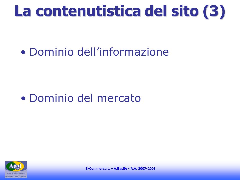 E-Commerce 1 – A.Basile - A.A. 2007-2008 usabilità