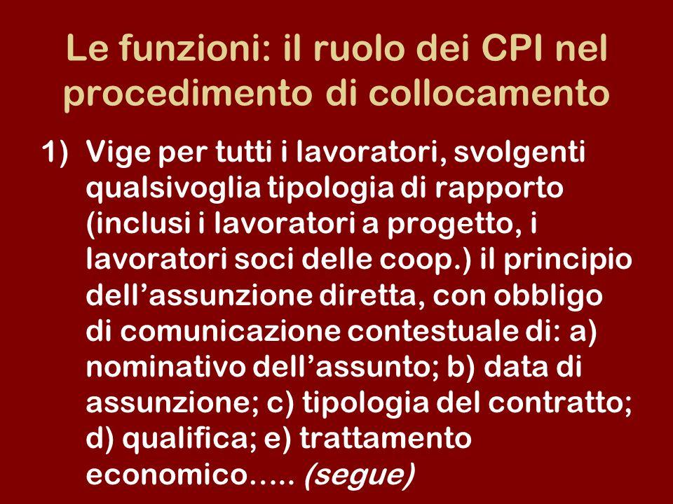 Le funzioni: il ruolo dei CPI nel procedimento di collocamento 1)Vige per tutti i lavoratori, svolgenti qualsivoglia tipologia di rapporto (inclusi i