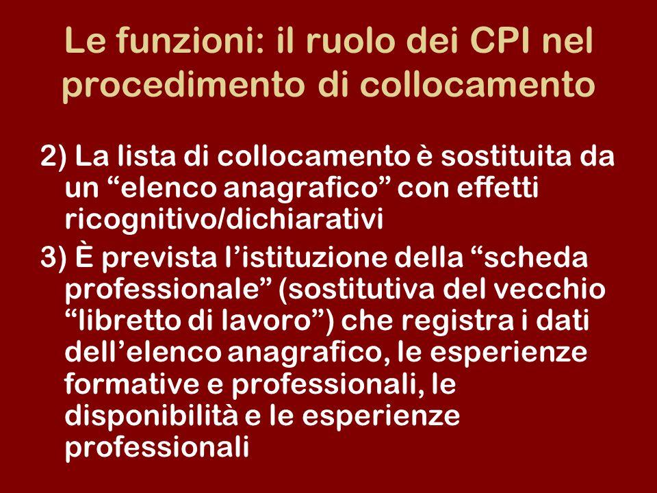 Le funzioni: il ruolo dei CPI nel procedimento di collocamento 2) La lista di collocamento è sostituita da un elenco anagrafico con effetti ricognitiv