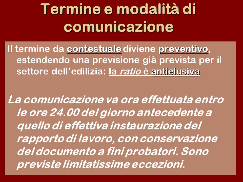 Termine e modalità di comunicazione contestualepreventivo antielusiva Il termine da contestuale diviene preventivo, estendendo una previsione già prev