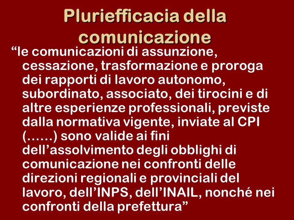 Pluriefficacia della comunicazione le comunicazioni di assunzione, cessazione, trasformazione e proroga dei rapporti di lavoro autonomo, subordinato,