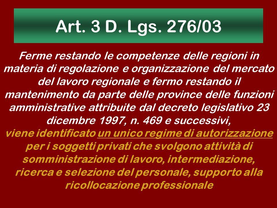Art. 3 D. Lgs. 276/03 Ferme restando le competenze delle regioni in materia di regolazione e organizzazione del mercato del lavoro regionale e fermo r