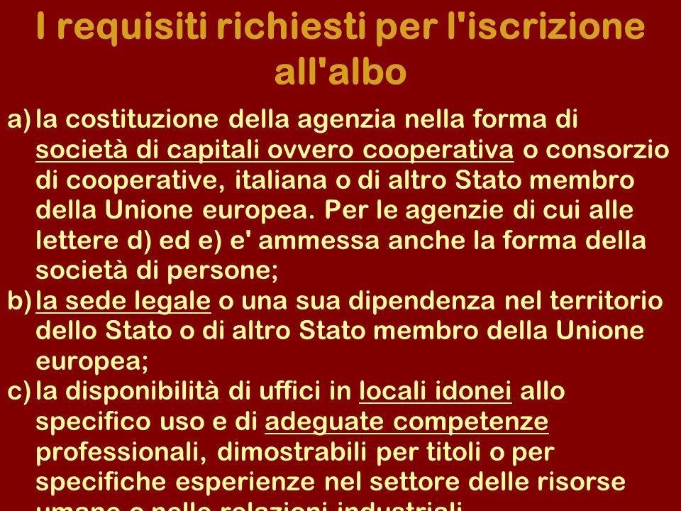 a)la costituzione della agenzia nella forma di società di capitali ovvero cooperativa o consorzio di cooperative, italiana o di altro Stato membro del