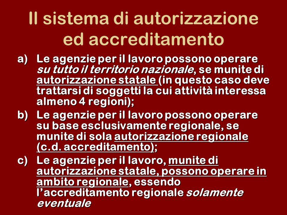 Il sistema di autorizzazione ed accreditamento a)Le agenzie per il lavoro possono operare su tutto il territorio nazionale, se munite di autorizzazion