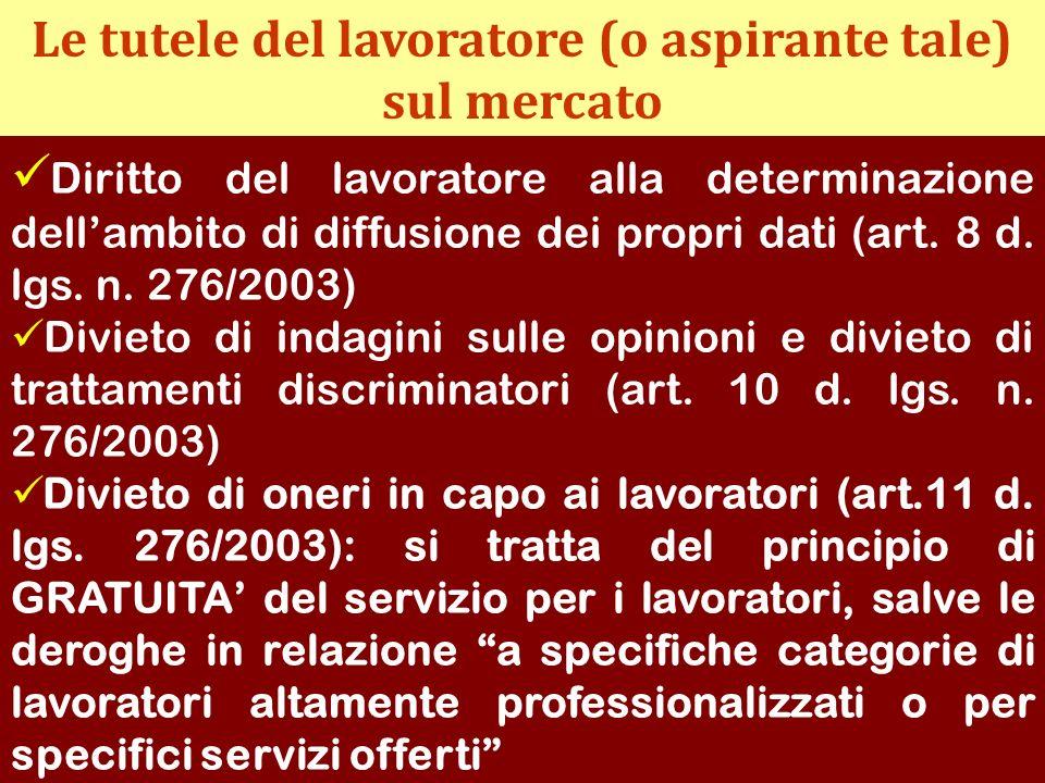 Le tutele del lavoratore (o aspirante tale) sul mercato Diritto del lavoratore alla determinazione dellambito di diffusione dei propri dati (art. 8 d.