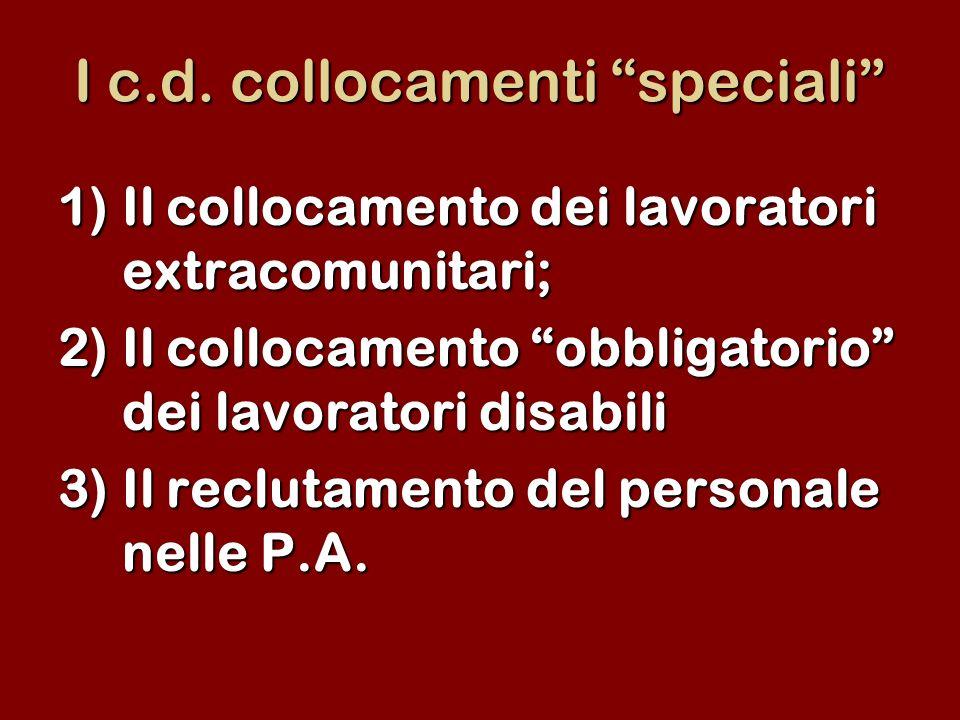 I c.d. collocamenti speciali 1)Il collocamento dei lavoratori extracomunitari; 2)Il collocamento obbligatorio dei lavoratori disabili 3)Il reclutament