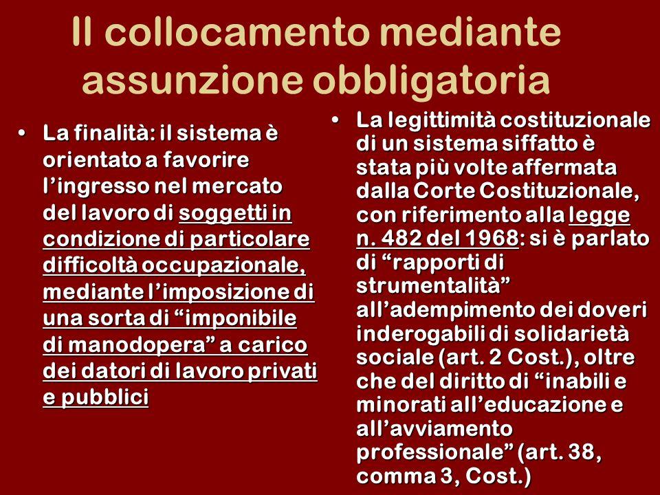 Il collocamento mediante assunzione obbligatoria La finalità: il sistema è orientato a favorire lingresso nel mercato del lavoro di soggetti in condiz