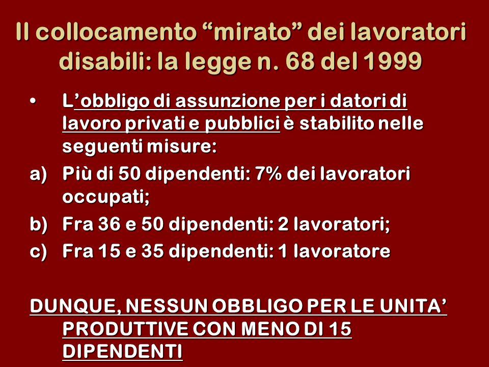 Il collocamento mirato dei lavoratori disabili: la legge n. 68 del 1999 Lobbligo di assunzione per i datori di lavoro privati e pubblici è stabilito n