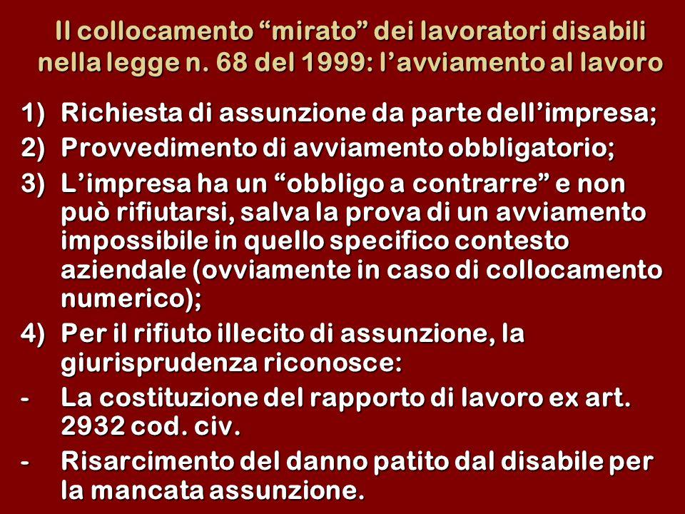 Il collocamento mirato dei lavoratori disabili nella legge n. 68 del 1999: lavviamento al lavoro 1)Richiesta di assunzione da parte dellimpresa; 2)Pro