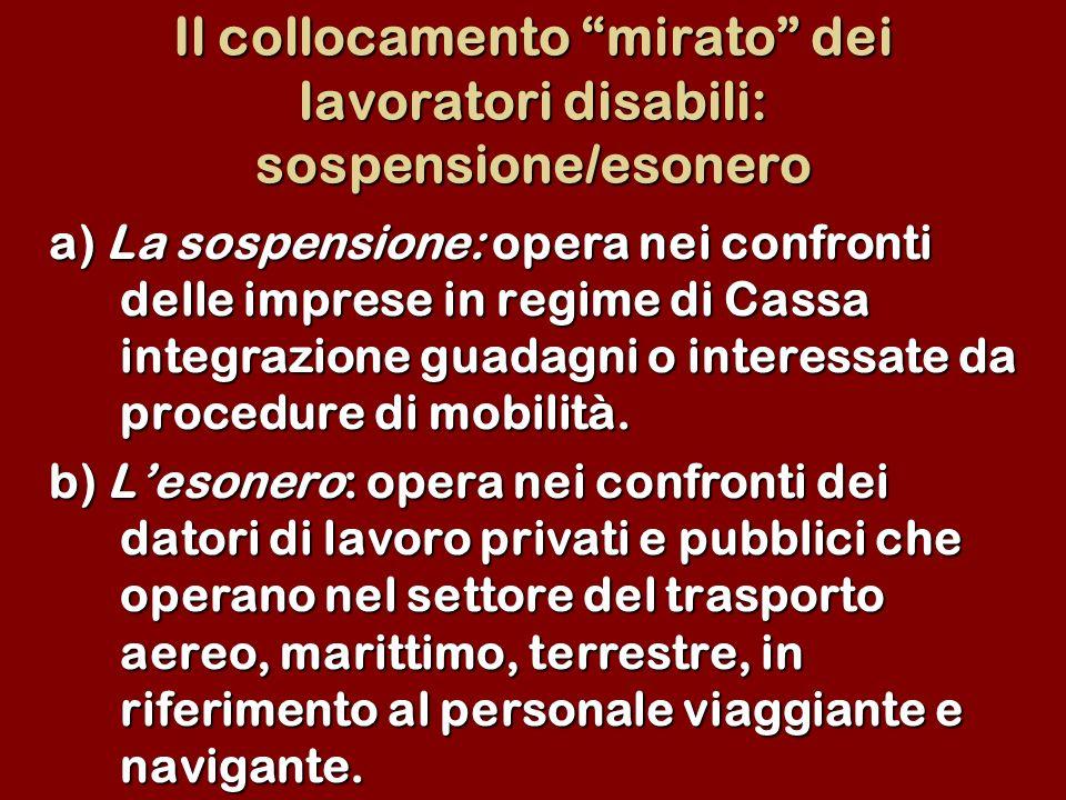 Il collocamento mirato dei lavoratori disabili: sospensione/esonero a) La sospensione: opera nei confronti delle imprese in regime di Cassa integrazio