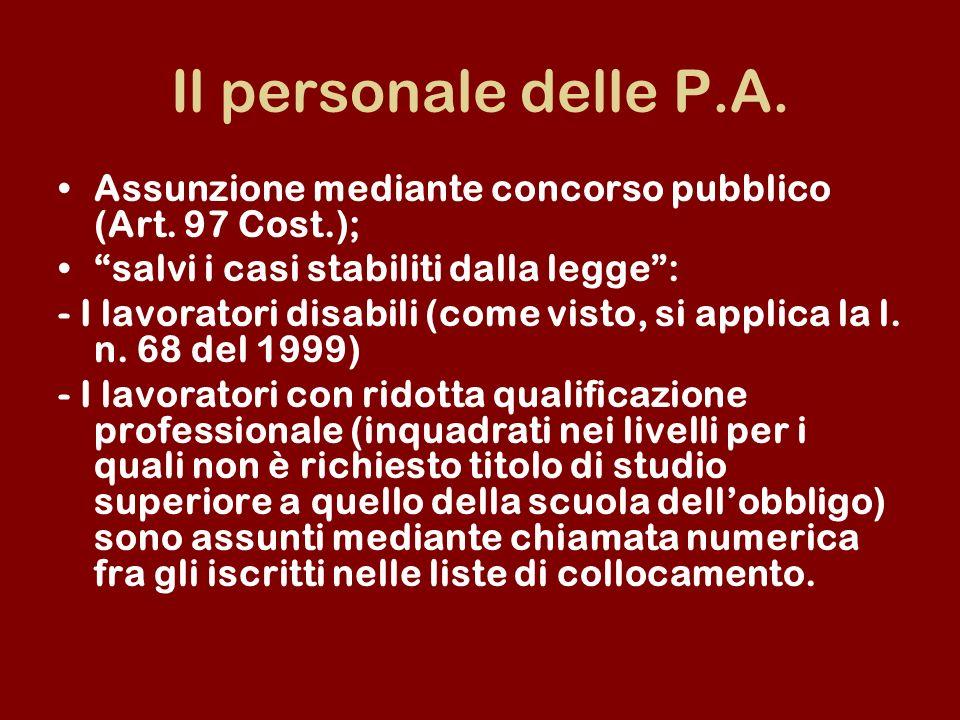 Il personale delle P.A. Assunzione mediante concorso pubblico (Art. 97 Cost.); salvi i casi stabiliti dalla legge: - I lavoratori disabili (come visto