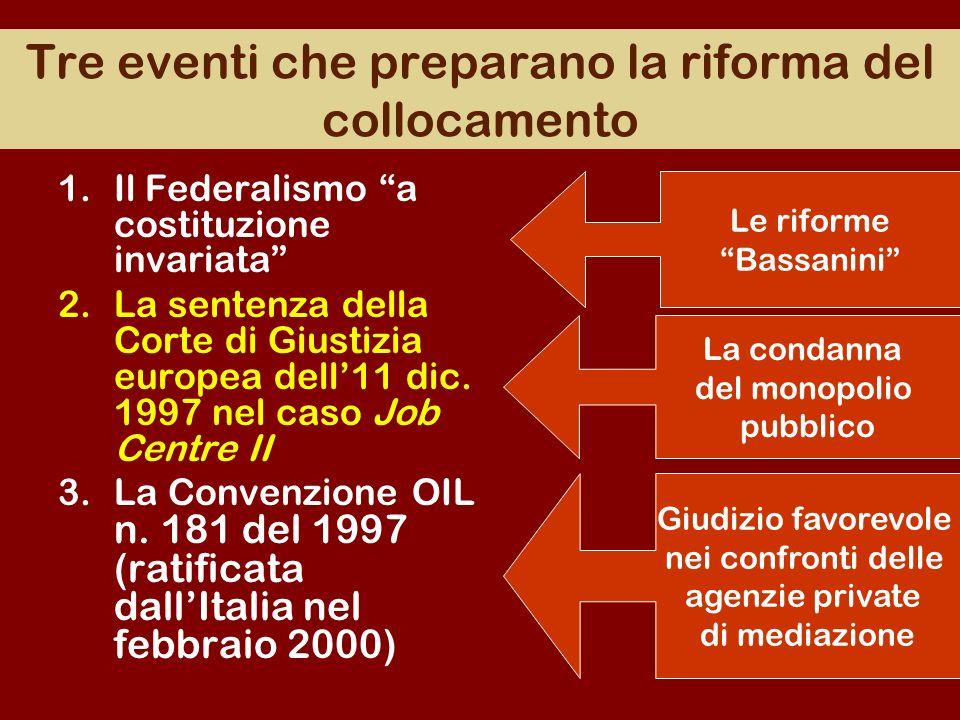 Tre eventi che preparano la riforma del collocamento 1.Il Federalismo a costituzione invariata 2.La sentenza della Corte di Giustizia europea dell11 d