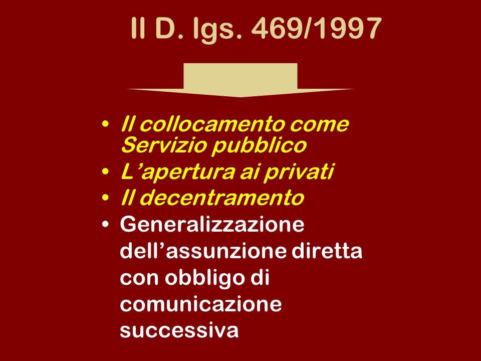 Il D. lgs. 469/1997 Il collocamento come Servizio pubblico Lapertura ai privati Il decentramento Generalizzazione dellassunzione diretta con obbligo d