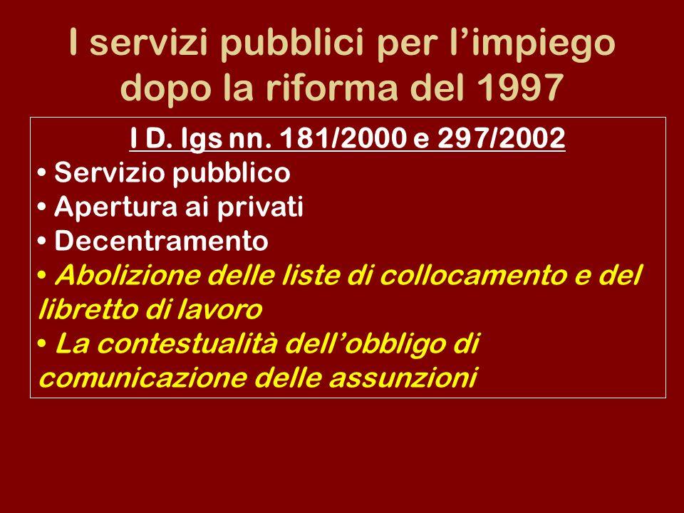 I servizi pubblici per limpiego dopo la riforma del 1997 I D. lgs nn. 181/2000 e 297/2002 Servizio pubblico Apertura ai privati Decentramento Abolizio