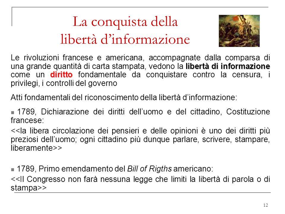 12 La conquista della libertà dinformazione libertà di informazione diritto Le rivoluzioni francese e americana, accompagnate dalla comparsa di una gr