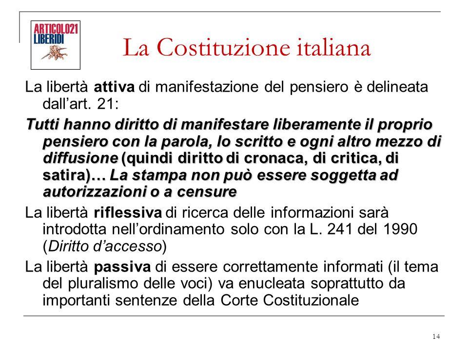14 La Costituzione italiana La libertà attiva di manifestazione del pensiero è delineata dallart. 21: Tutti hanno diritto di manifestare liberamente i