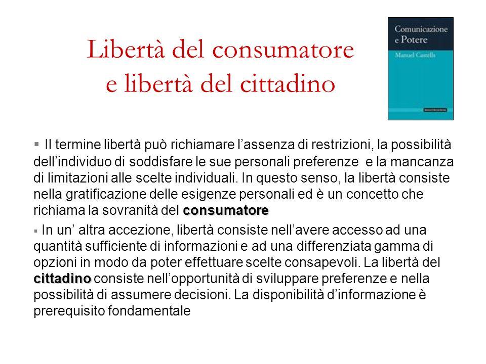Libertà del consumatore e libertà del cittadino consumatore Il termine libertà può richiamare lassenza di restrizioni, la possibilità dellindividuo di