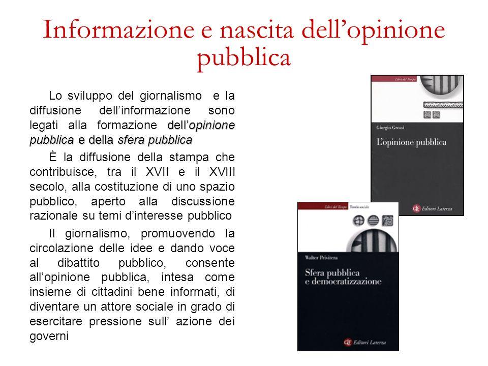 Informazione e nascita dellopinione pubblica dellopinione pubblica e della sfera pubblica Lo sviluppo del giornalismo e la diffusione dellinformazione