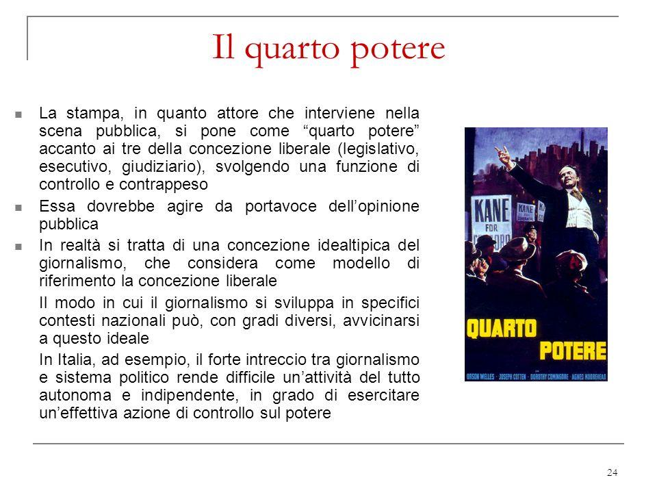 24 Il quarto potere La stampa, in quanto attore che interviene nella scena pubblica, si pone come quarto potere accanto ai tre della concezione libera