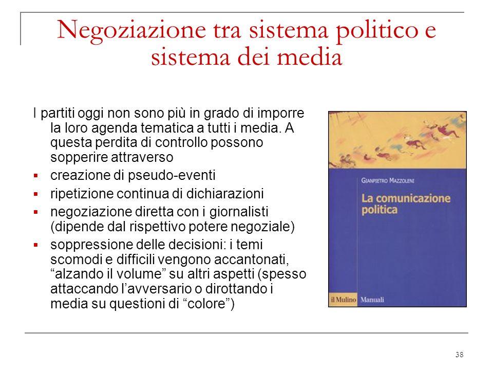 38 Negoziazione tra sistema politico e sistema dei media I partiti oggi non sono più in grado di imporre la loro agenda tematica a tutti i media. A qu