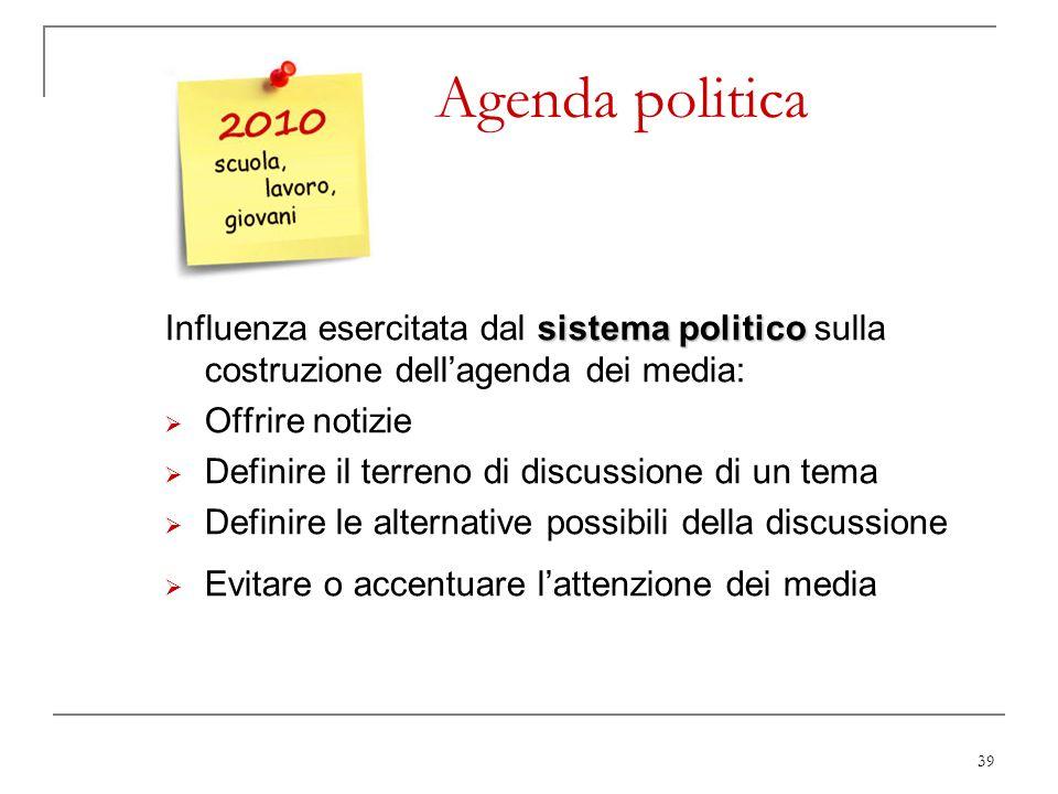 39 Agenda politica sistema politico Influenza esercitata dal sistema politico sulla costruzione dellagenda dei media: Offrire notizie Definire il terr