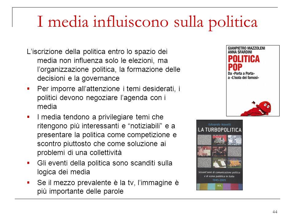 44 I media influiscono sulla politica Liscrizione della politica entro lo spazio dei media non influenza solo le elezioni, ma lorganizzazione politica