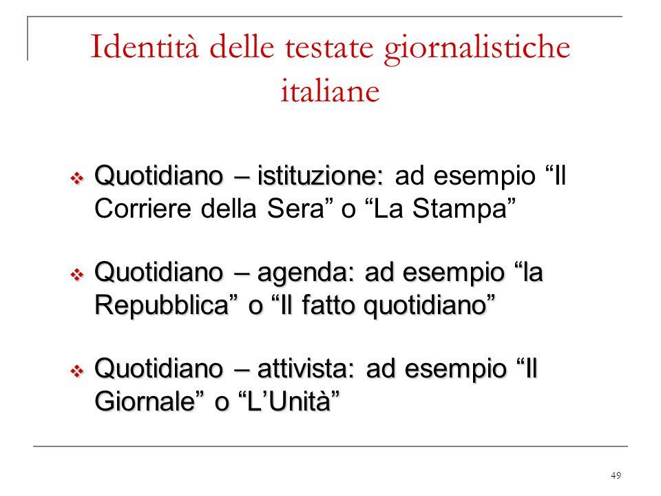 49 Identità delle testate giornalistiche italiane Quotidiano – istituzione: Quotidiano – istituzione: ad esempio Il Corriere della Sera o La Stampa Qu