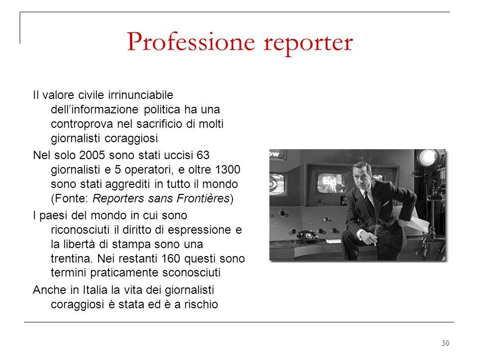 50 Professione reporter Il valore civile irrinunciabile dellinformazione politica ha una controprova nel sacrificio di molti giornalisti coraggiosi Ne