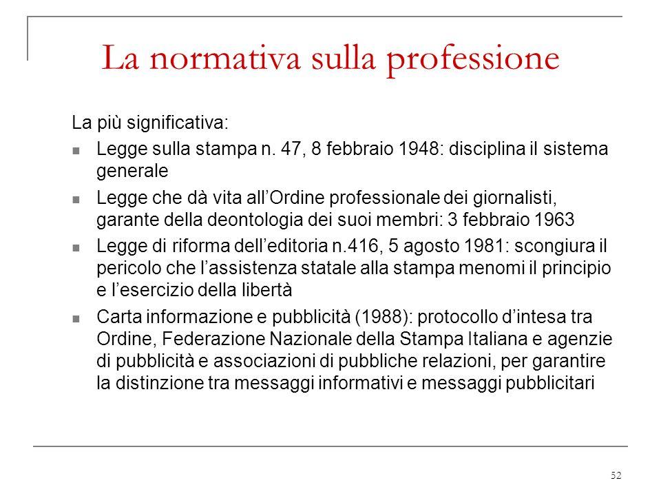 52 La normativa sulla professione La più significativa: Legge sulla stampa n. 47, 8 febbraio 1948: disciplina il sistema generale Legge che dà vita al